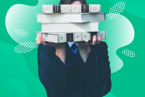 girl with books as a unpaid intern