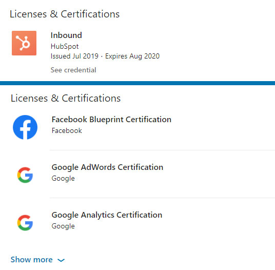 licence-and-certification-examples